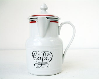 French vintage bistro service porcelain coffee pot. Individual coffee pot with side handle. French bistro porcleain. Morning coffee.