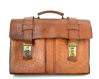 French vintage genuine leather briefcase schoolbag. Faux crocodile embossed Laptop case. Rustic vintage school bag