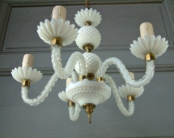 French vintage murano glass, hobnail glass, and opaline crystal 5 branch chandelier. White venetian glass chandelier