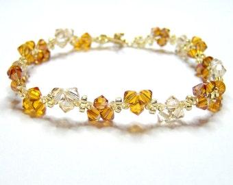 Autumn Leaves Bracelet, swarovski bracelet, autumn bracelet, bicone bracelet, beaded bracelet, beadwork bracelet, crystal bracelet BR003
