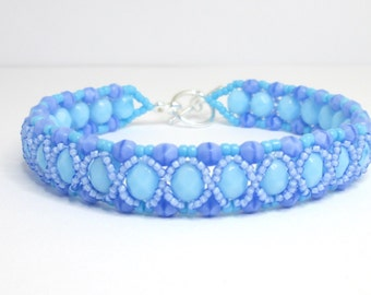 Blue opaque bracelet, firepolish bracelet, blue bracelet, light blue, beadwoven bracelet,