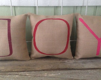 "Holiday Burlap Pillows-  Set of 3 multicolored ""JOY"" pillows, Christmas/Holiday decor, Christmas pillow, Christmas Gifts"
