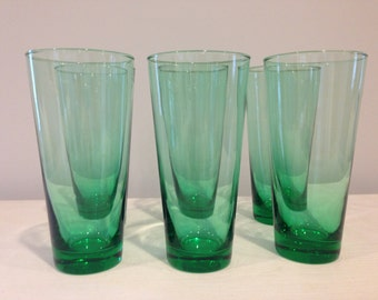 Set of 6 Tall Green Glasses