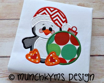 Santa Penguin Ornament Applique