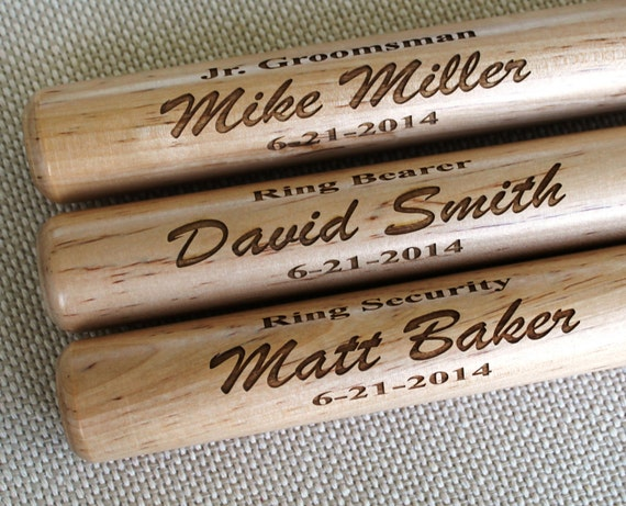 Personalized Mini Baseball Bat - ring bearer gift, groomsman gift, baby gift - Engraved - Customized - Monogrammed for Free