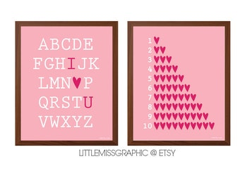 INSTANT DOWNLOAD Girls Room Wall Art Set of 2 Prints•Love Heart•Alphabet•Numbers•Digital File•8x10 Digital Poster-Pastel Pink Nursery