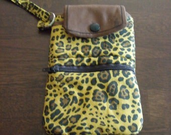 Small Cell Phone Wallet:  Leopard Print