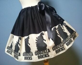 Godzilla Rocks! Godzilla Skirt,Cosplay,Cupcake Skirt, All Sizes, Adjustable Waist.  Exclusive