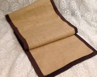 Burlap 16 x 72 Table Runners in Natural with Brown Silk Trim