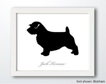 Personalized Hand-Cut Norfolk Terrier Silhouette with Custom Name (Docked Tail) - Norfolk Terrier art, dog portrait, dog home decor