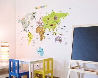World Map Removable Wall Decal Nursery Illustrated World Map Sticker