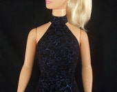 My Size Barbie Doll Black Suede Ice Blue Party Dress