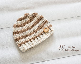 Men's Hat - Boy Hat - Men's Beanie - Striped Hat - Wooden Button Hat - Newborn to Adult sizing