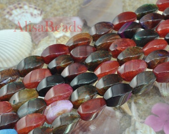 Fire Agate,smooth twist,8x16mm,beads,15 inches