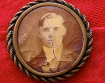 Vintage 1900's Celluloid Photo Mourning Pin Button - He Was A Handsome Man - Free Shipping