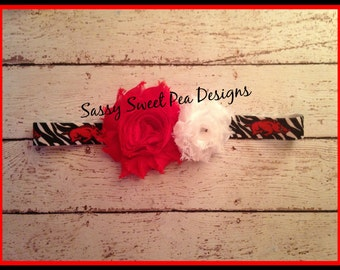 Arkansas Razorbacks inspired Shabby Flowers with Limited Edition Headband .... Newborn, Baby, Girls Photo Prop Bow