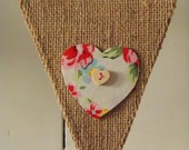 BURLAP BUNTING in floral with hearts and buttons, bunting decoration, wedding, party decoration