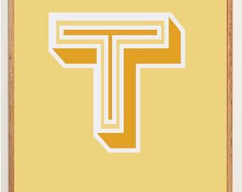 Mid-Century Modern Letter T