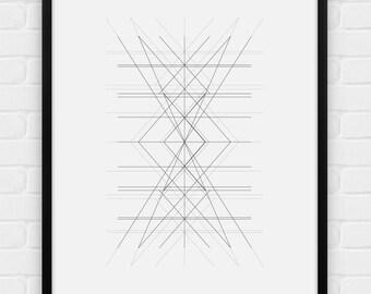 "Geometric Art - ""Center"" - Printable Poster - Digital Art, Download and Print JPG"