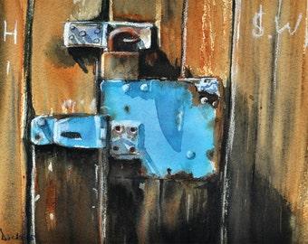 Old Blue Lock, print of original watercolour painting.