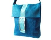 Petrol / Teal Suede Messenger Bag, Blue Suede Bag, Leather Sling Bag, Over the Shoulder Bag, Blue Cross Over Bag