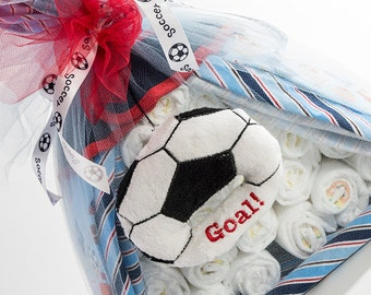 "The ""Soccer"" Sport Diaper Bundle. Baby Shower Centerpiece or Gift."