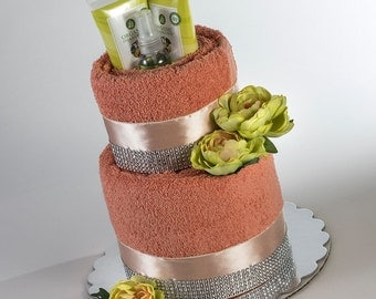 "30% OFF! The ""Tangerine Bliss"" Towel Cake. Perfect for Mother's Day or Bridal Shower Gift. Was 80.00 Dollars!"