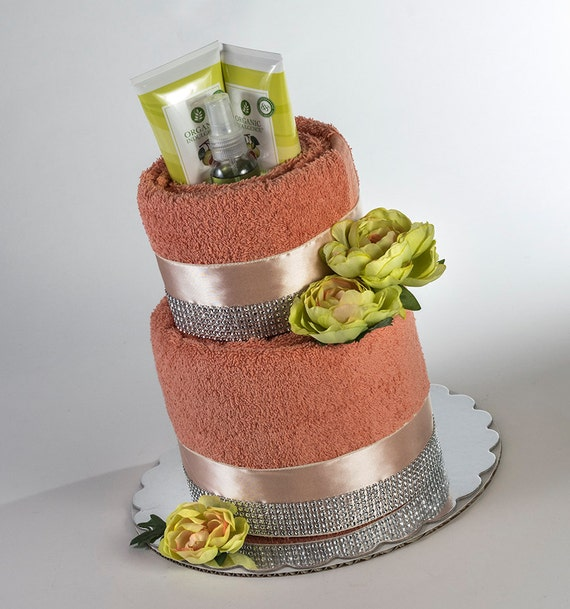 "The ""Tangerine Bliss"" Towel Cake. Perfect for Mother's Day or Bridal Shower Gift."