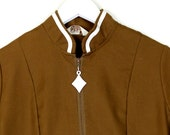Medium Brown 60s Mod Retro Shift Dress White Diamond Zipper