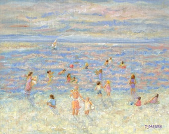 Mother and Child At the Beach, 7.6x9.6 inch print from oil painting by Pamela Parsons, impressionist painting, beach painting, impressionism