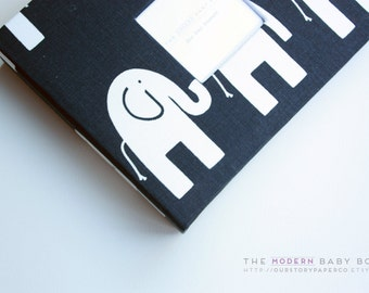 Free Shipping. MODERN Baby Book // Navy Elephant Cover. baby book. baby shower present. newborn keepsake. keepsake