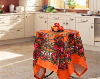 "Cotton tablecloth, 57""x57"", Ukrainian/Russian scarf floral ornaments, Square tablecloth, kitchen tablecloth, Orange floral tablecloth"