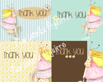 Fairy and bunny  THANK YOU notes .DIGITAL