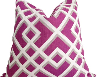 Decorative Pillow Cover - Geometric Design - Pillow Cover - Toss Pillow - Throw Pillow- Accent Pillow -Sofa Pillow - Magenta,Ivory and Taupe