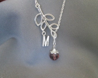 Personalized Branch Birth Stone and Letter Necklace - Lariat Style