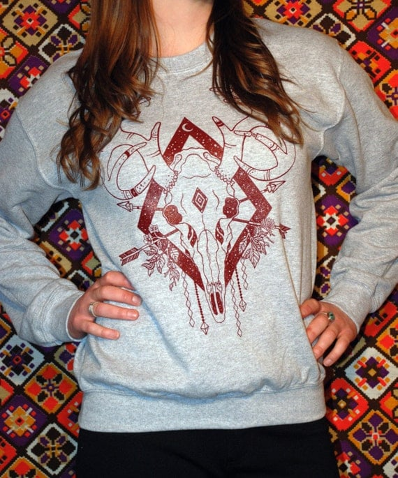 Deer Skull Print || Light Grey Crew