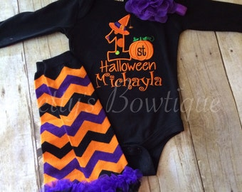 Baby Girls First Halloween Outfit with T Shirt or Bodysuit, Legwarmers and Flower Headband – Sizes 3 Month to Youth