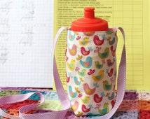 Children's school water bottle carrier - drinks holder for kids - girls fabrics - birds, bikes, cupcakes, matryoshka, sweets