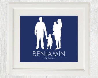 Printable Family Silhouette Print - Fathers Day gift - Children silhouettes - Couple silhouettes - Family - Christmas gift - Customizable