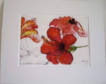 Red Hibiscus, Giclee print.