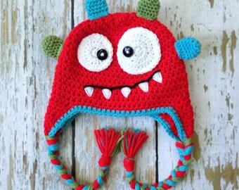 Crochet baby monster hat red 0-5T