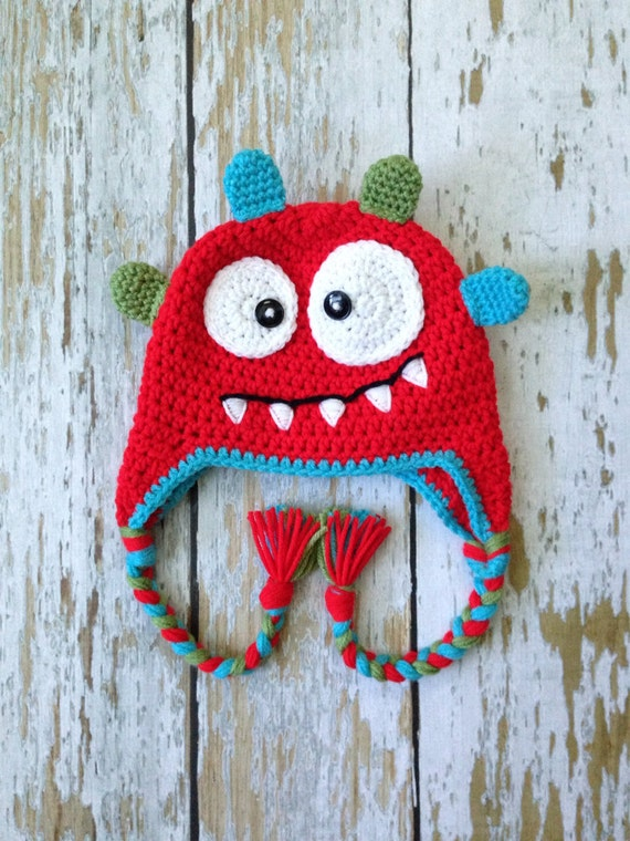 Crochet baby monster hat red 0-5T