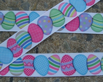 "Easter Ribbon Easter Eggs Ribbon Printed Ribbon Easter Color Eggs Ribbon 7/8"" 3 yards Hair bow ribbon"