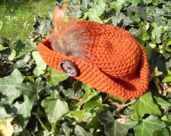 Small Tricorn Hat Fascinator  - Copper/Brown