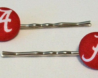 Fun Pair of Alabama Inspired Crimson and White Button Metal Bobby Pins