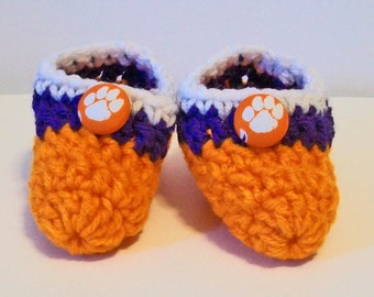 Adorable Hand Crocheted Baby Bootie Shoes Orange and White Clemson Tigers Inspired Great Photo Prop Matching Hat & Bib Also Available