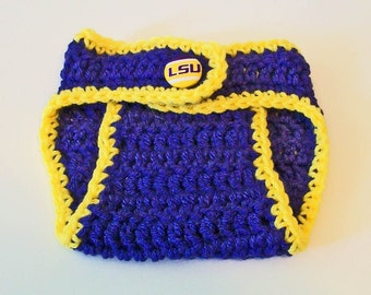 Unique Purple and Gold LSU Inspired Hand Crocheted Baby Diaper Cover Picture Prop Great Gift