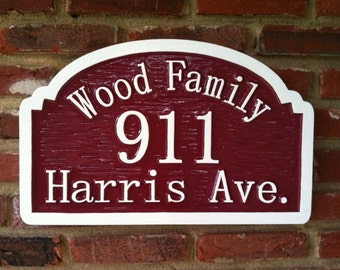 Custom Carved Street Address sign with Family Name - Custom Carved Personalized Sign