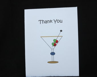 "Thank you card with martini glass and hand-embroidered red knots.  The inside reads, ""with olive my heart."""