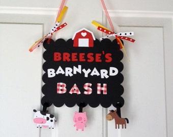 Farm Barnyard Birthday Sign, Barnyard Baby Shower, Barnyard Birthday Banner, Farm Birthday Banner, Barnyard Bash, Cow, Pig, Horse, Sheep